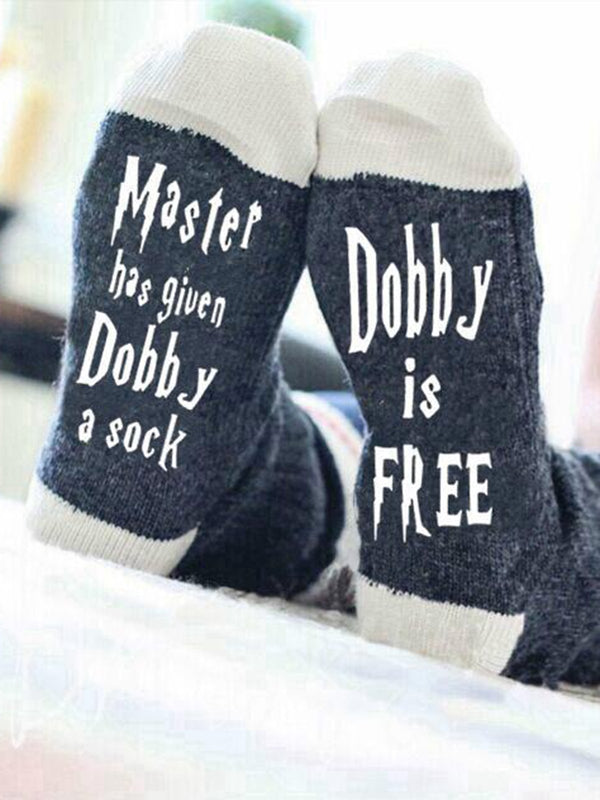 Mens Womens Master has given Dobby a Socks  Cotton Letter Socks