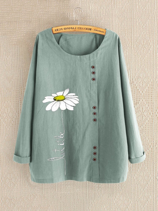 Women Casual Shirt Floral Print Daisy Button Long Sleeve