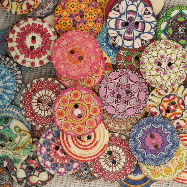 50Pcs 25mm Wooden Buttons Round Sewing Buttons Multi-Color  for DIY Craft Bag Hat Clothes Decoration