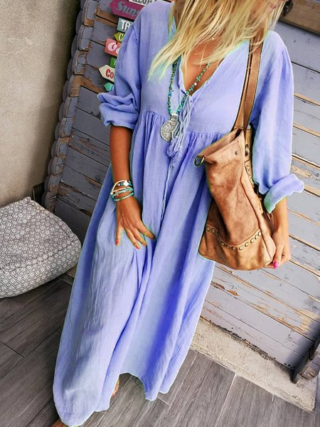 Long Sleeve Solid Boho Dresses