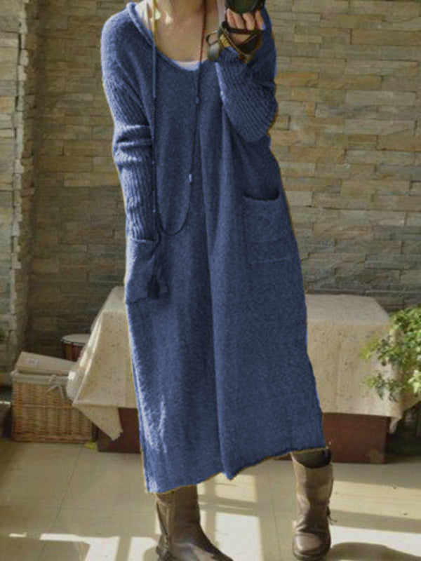 Women Dresses Casual Long Sleeve Pocket Maxi Warm Dresses