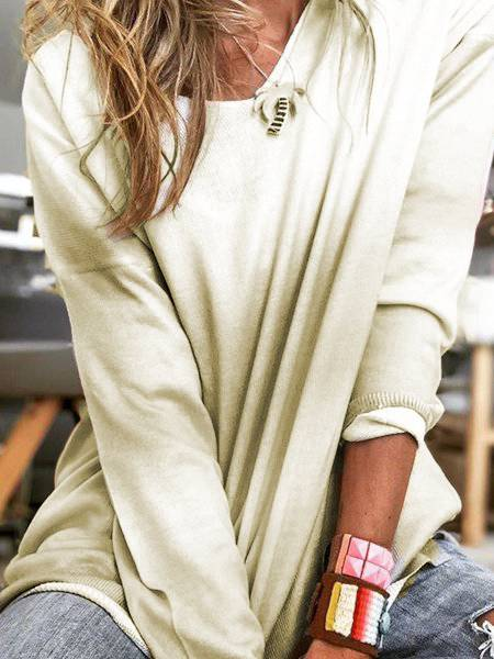 Casual Cotton Crew Neck Long Sleeve Shirts & Tops