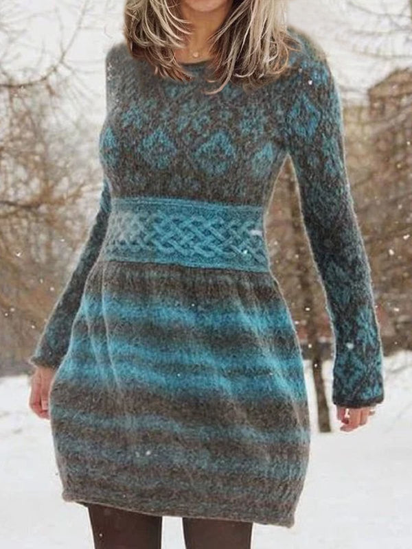 Women Striped Sweater Long Sleeve Casual Dresses