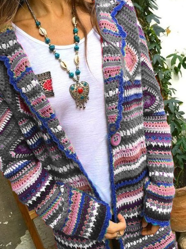 Women Tribal Vintage Cardigan Plus Size