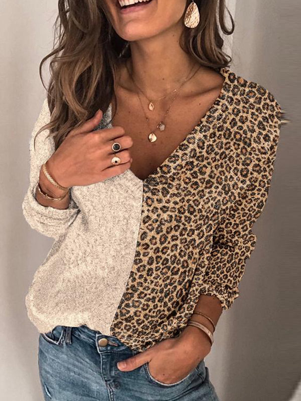 Apricot Long Sleeve Color-Block Casual Shirts & Tops