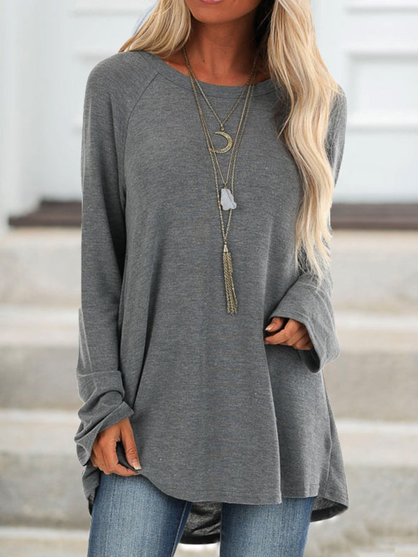 Women Crew Neck Solid Casual Long Sleeve  Cotton Shirts & Tops Grey