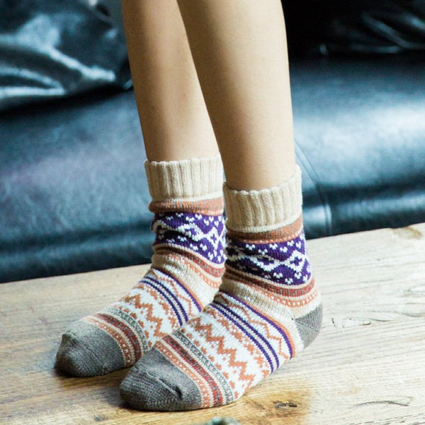 Unisex Lady Thick Warm Wool-blend Colorful Socks