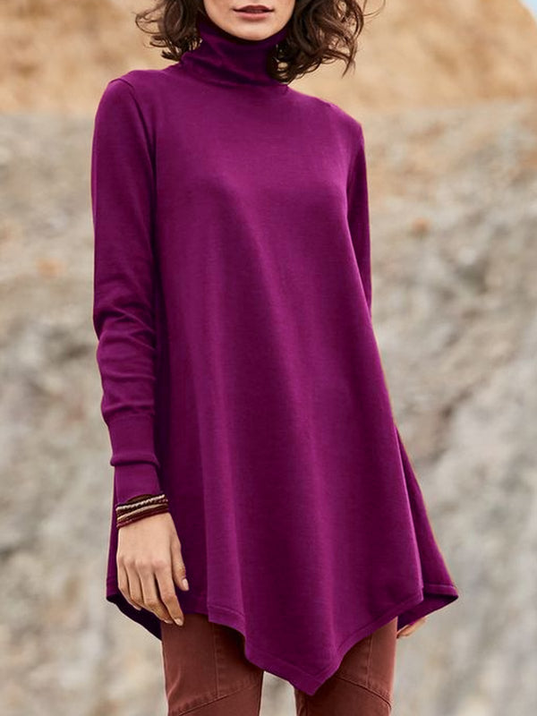 Women Long Sleeve Shirts Tops Casual Turtleneck Plus Size