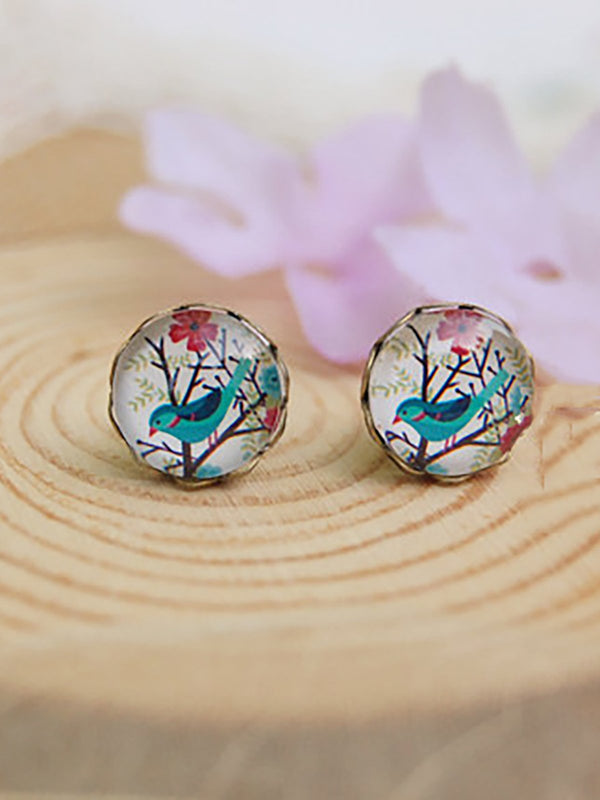 Women Lady Earrings Round Studs Accessories Stylish Jewelry