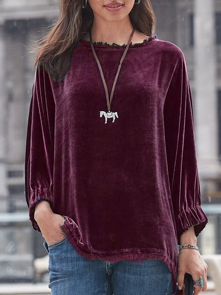 Women Velvet Shirts & Tops Long Sleeve Round Neck Elegant