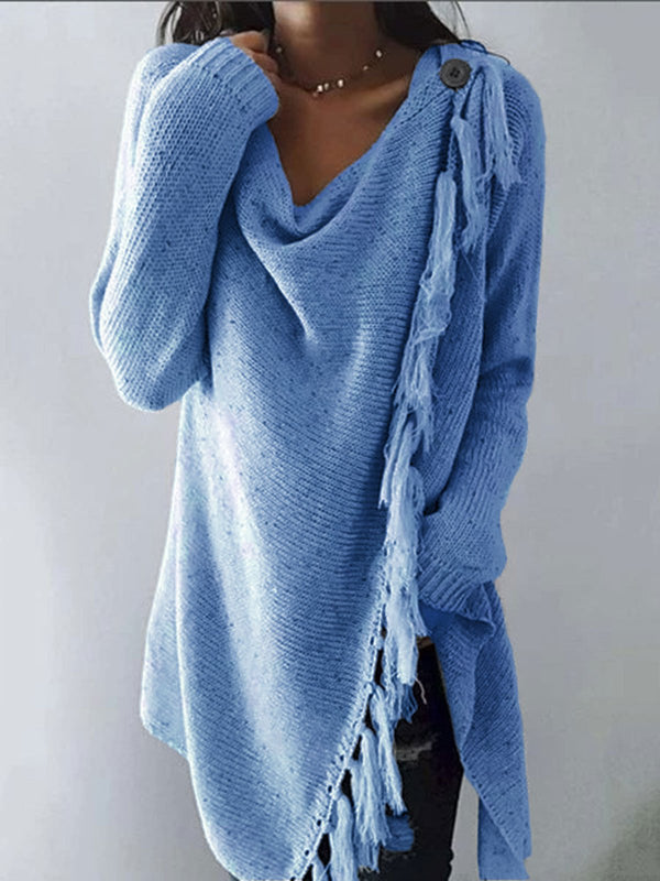 Women Long Sleeve Tassel Cowl Neck Plain Cotton-Blend Shirts & Tops