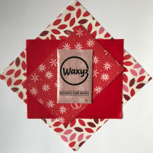 Load image into Gallery viewer, Waxyz reusable wax  wraps in triple pack red designs