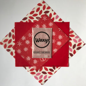 Waxyz reusable wax  wraps in triple pack red designs