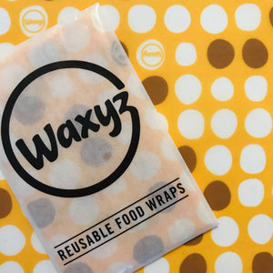Yellow Dotty Waxyz wrap. Be plasticfree and use a wax wrap as an alternative to cling film