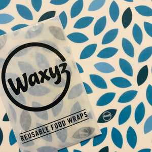 Blue leaf Waxyz food wrap. Eco and vegan friendly alternative to cling film.