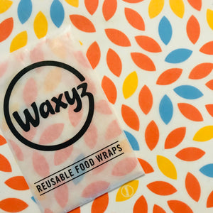 Cling film alternative which are plasticfree in orange leaf design by Waxyz