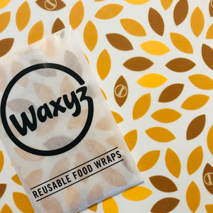 small reuasable waxyz wrap in yellow leaf