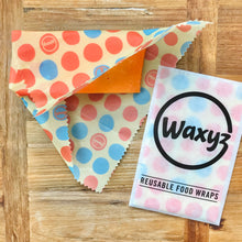 Load image into Gallery viewer, Small Waxyz vegan and eco friendly wax food wrap in Orange dotty design by Bplasticfree.