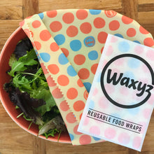 Load image into Gallery viewer, Large Orange Dotty reusable wax wrap by Waxyz. An environmentally alternative to cling film.