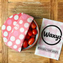 Load image into Gallery viewer, Reusable wax wrap by Waxyz in red dotty design