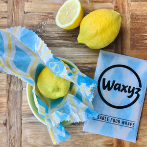 Waxyz wax wrap in diamond blue design by bplasticfree