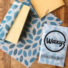 Load image into Gallery viewer, keep cheese fresher for longer by using a blue leaf Waxyz. An eco friendly alternative to cling film
