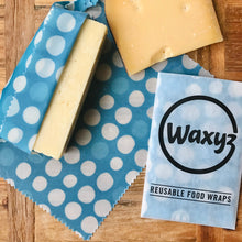 Load image into Gallery viewer, Waxyz reusable wax food wrap in Blue Dotty design by Bplasticfree. An eco and vegan friendly alternative to cling film