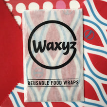 Load image into Gallery viewer, waxyz red design triple pack reusable wax wraps.