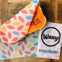 Load image into Gallery viewer, Reusable Waxyz food wraps in orange leaf design as an eco friendly alternative to cling film