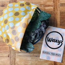 Load image into Gallery viewer, Waxyz wax wrap in new dotty yellow and medium size.