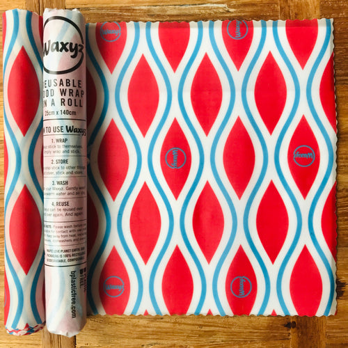 Waxyz new red diamond reusable wax wrap on a roll