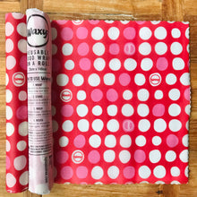 Load image into Gallery viewer, Red dotty reusable wax wrap on a roll by Bplasticfree.