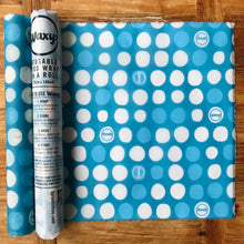 Load image into Gallery viewer, Blue dotty Waxyz food wrap on a roll. An eco and vegan friendly alternative to cling film to help save our planet.