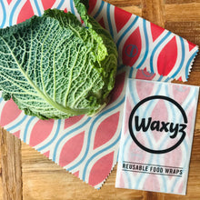 Load image into Gallery viewer, Waxyz reusable wax food wrap in red diamond
