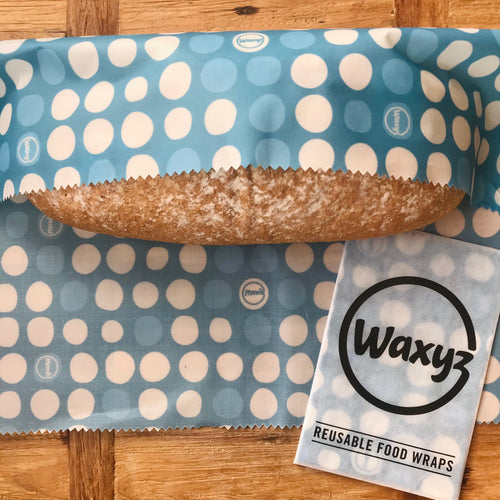 Extra large blue dotty Waxyz wrap. Environmentally friendly alternative to cling film for keeping bread and food fresher for longer.