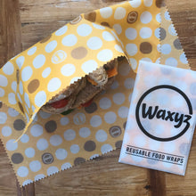 Load image into Gallery viewer, Large yellow dotty Waxyz food wrap. An eco and vegan friendly alternative to cling film