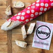 Load image into Gallery viewer, Reusable Waxyz wrap in red dotty design for keeping food fresher for longer and plastic free.