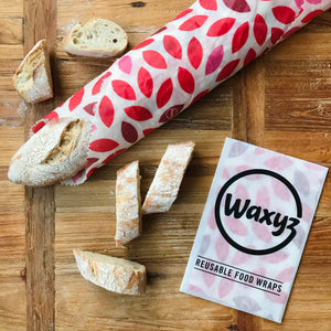 Waxyz extra large reusable food wax wrap in red leaf design. Keep sandwiches, food and bread fresher for longer