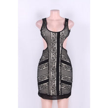 Load image into Gallery viewer, Black Lace Lining Backless Mini Dress