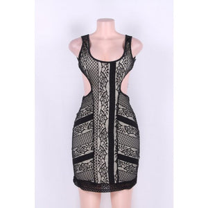 Black Lace Lining Backless Mini Dress