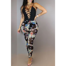 Load image into Gallery viewer, Hollow Front Mesh Print Jumpsuit