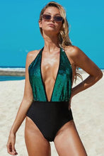 Load image into Gallery viewer, Deep V Neck Waist Sequin One-piece Swimsuit