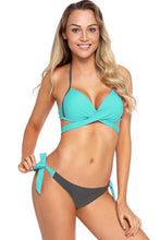 Load image into Gallery viewer, Wrap Front Halter Bikini Tie Side Bottom Swimsuit