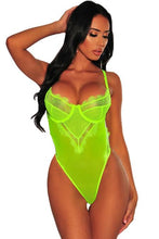 Load image into Gallery viewer, Sheer Mesh Lace Bustier Underwire Bodysuit