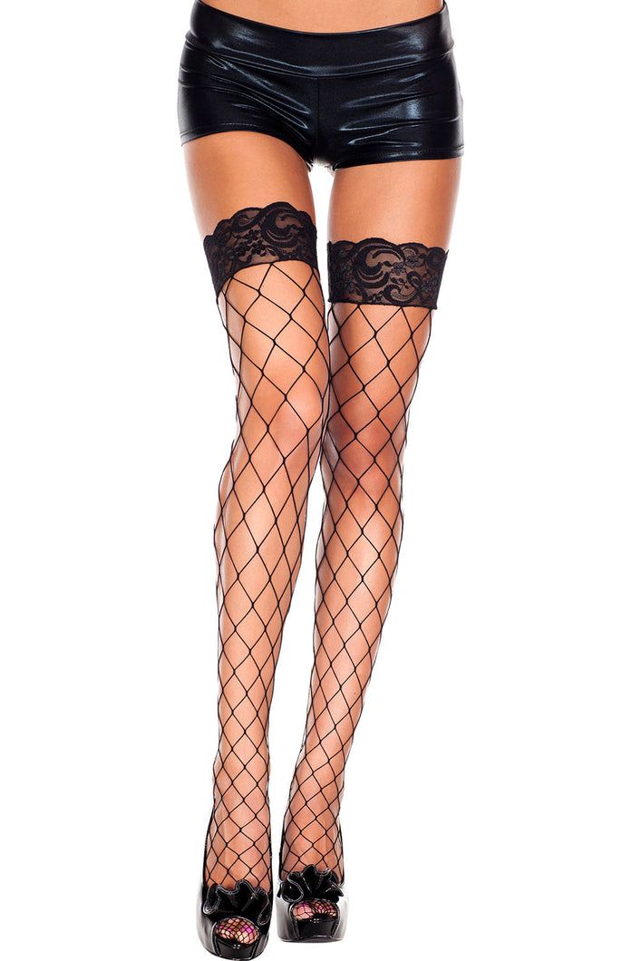 Lace Top Diamond Net Thigh High