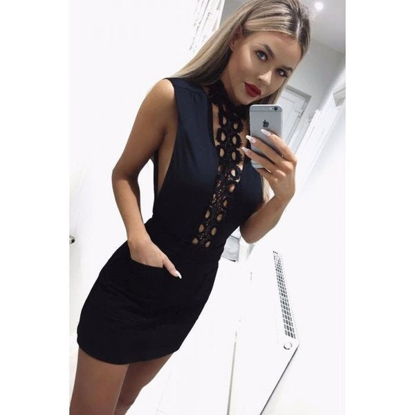 High Lace Neck Mini Dress