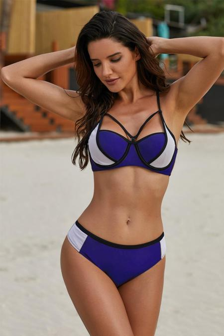 Color Block Strappy Bikini Swimsuit