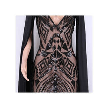 Load image into Gallery viewer, Black Sequins Plunging V neck with Speaker Sleeves