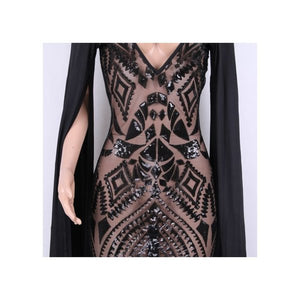 Black Sequins Plunging V neck with Speaker Sleeves