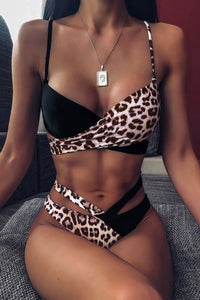 Printed Splicing Tie Bikini Set